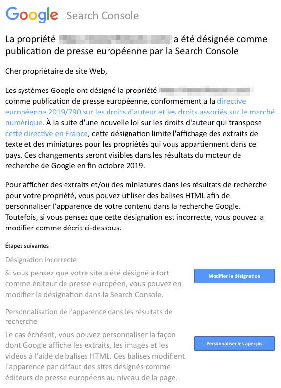 publication presse européenne mail Google