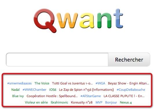 Qwant: liens vers des résultats de recherches