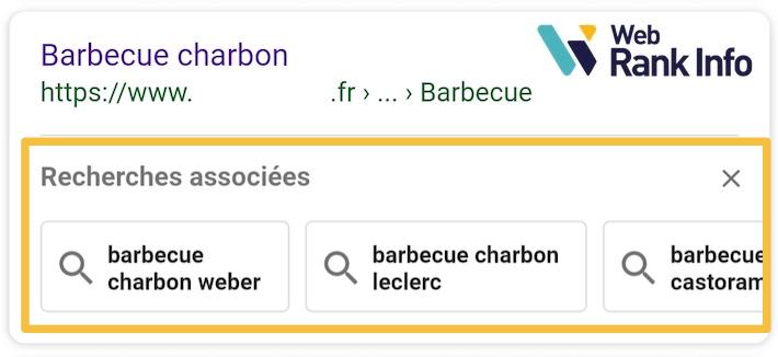 Recherches associées Google par résultat (mobile)