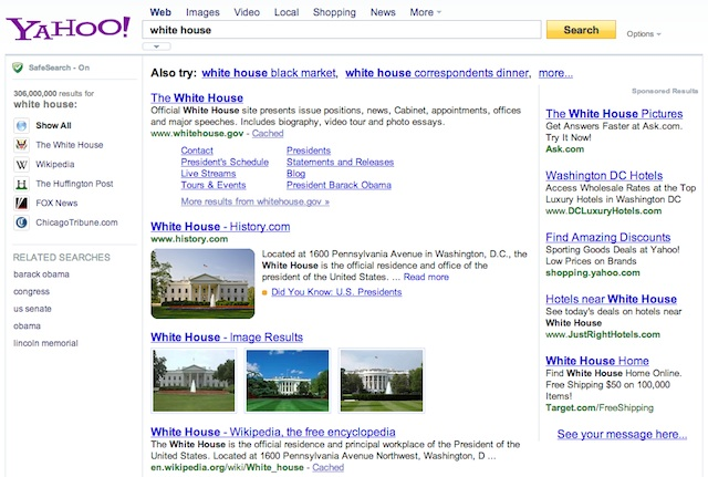 Exemple de requête Knowledge Graph absent sur Yahoo