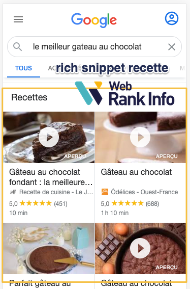 Rich snippet recette (sur mobile)