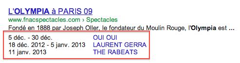 Extrait enrichi pour des dates d'événements dans les SERP Google