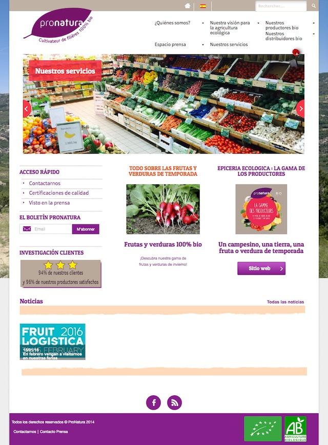 Page d'accueil espagnol trop light