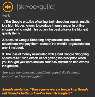 Définition du verbe Scroogled par Bing