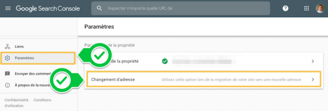 Accès au changement d'adresse  dans les paramètres de search console