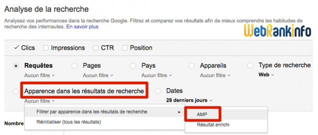 Filtre AMP Search Console