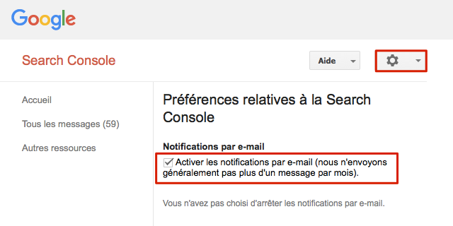 Messages Search Console par email