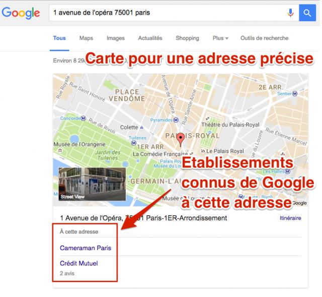 Carte Google pour adresse