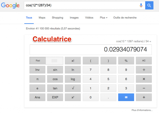 Calculatrice dans Google