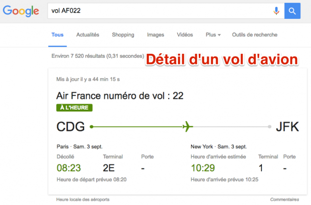 Détails vol avion Google