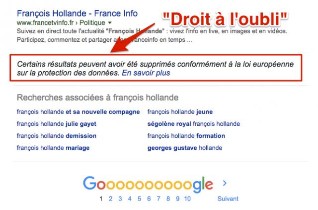 Droit à l'oubli Google