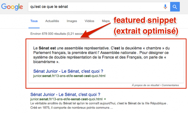 Exemple de featured snippet