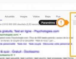 SERP Google paramètres recherche