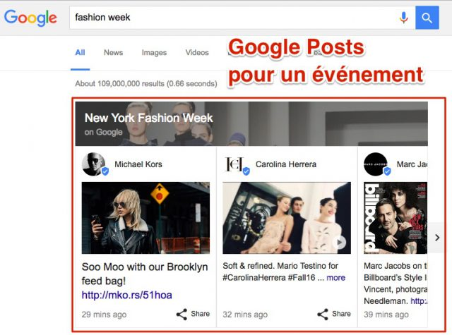 Google Posts événement