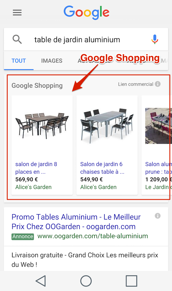 Google Shopping sur mobile