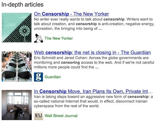 Articles de fond dans SERP Google