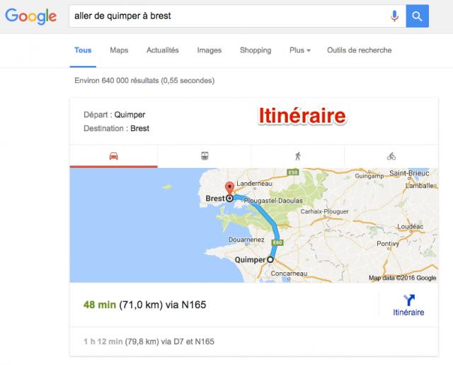 Itinéraires dans résultats Google