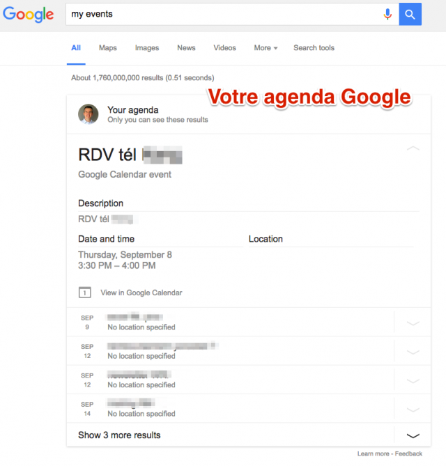 Agenda dans SERP Google