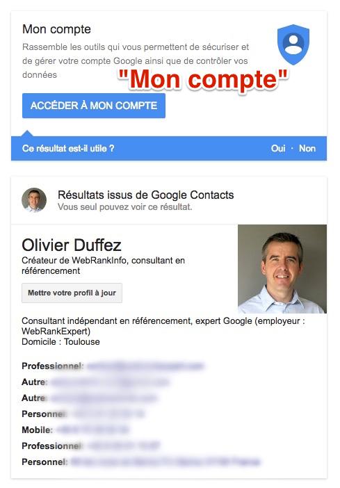 Bloc Mon compte dans Google