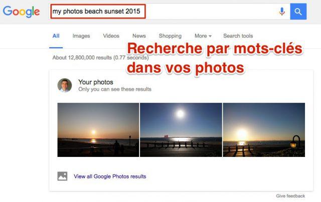 Recherche de photos par mot-clé