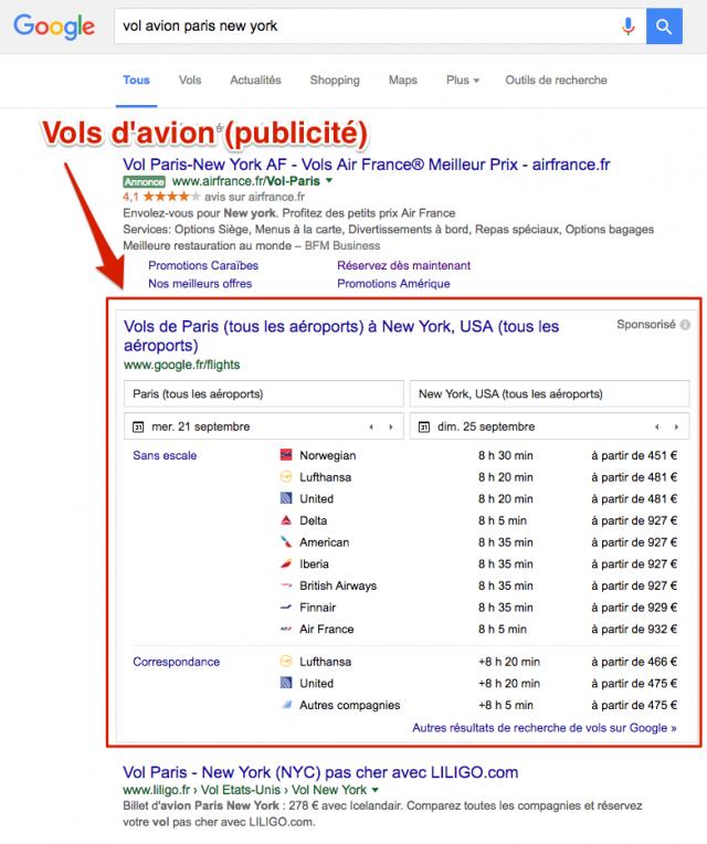 Vols d'avion dans Google