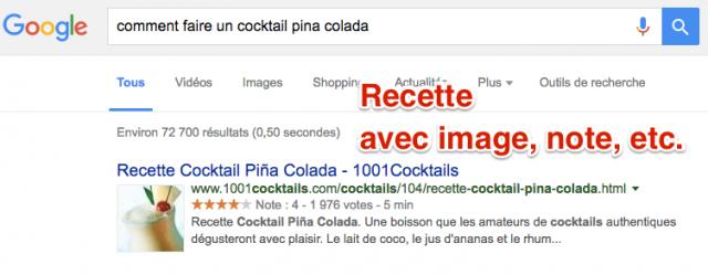 Recette SERP Google
