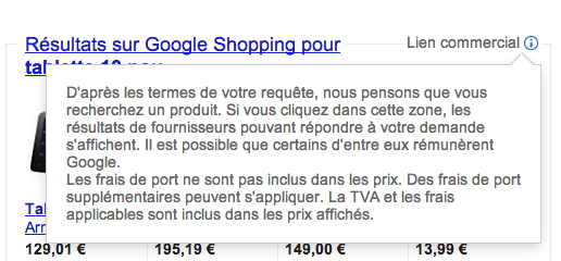 Explications Google Shopping lien commercial