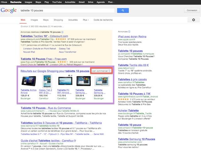 Google Shopping lien commercial intégré