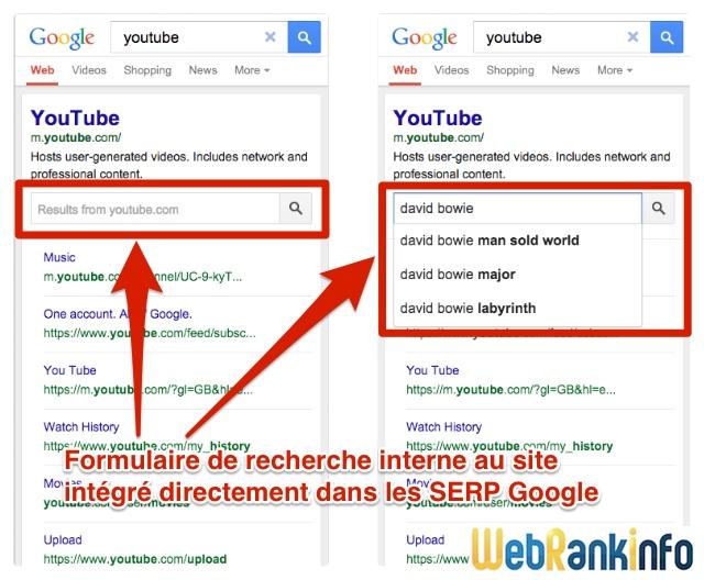 Recherche interne dans Google