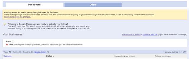 Tableau de bord Google Adresses