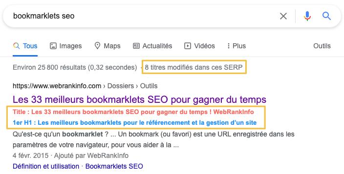 Bookmarklet analyse titres modifiés dans SERP