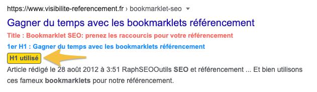 bookmarklet H1 SERP