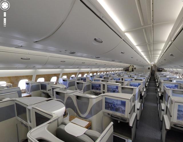 Visite virtuelle 360 airbus a380 cockpit classe affaires for Avion airbus a380 interieur