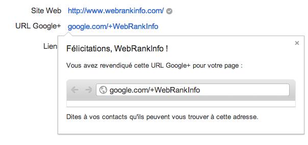 URL Google+ revendiquée