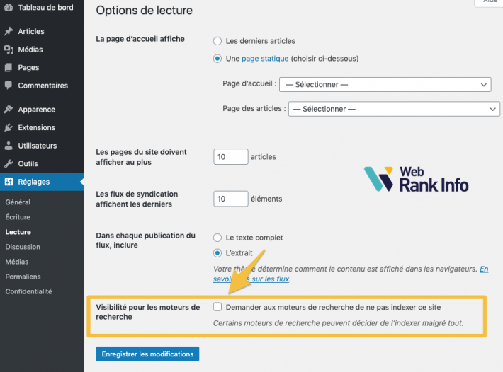 Option WordPress ne pas indexer ce site