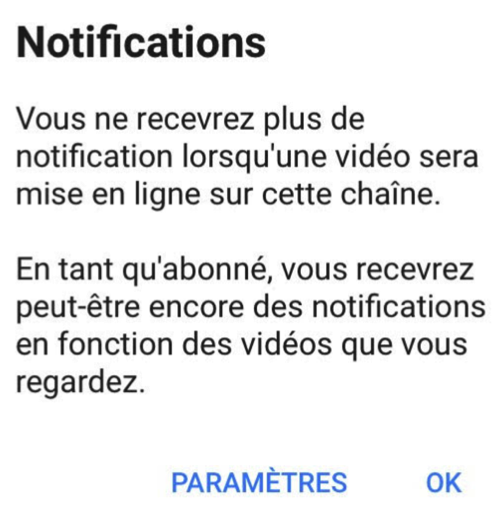 Absence de notification YouTube