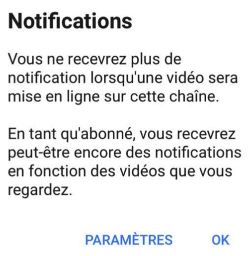 Absence de notification YouTube