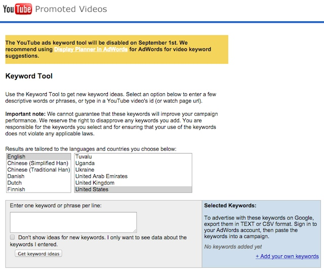 Youtube ads keyword tool