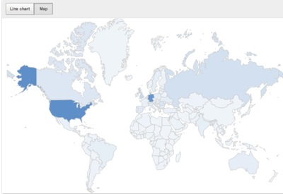 YouTube Analytics : carte des pays