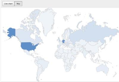 YouTube Analytics : carte des pays