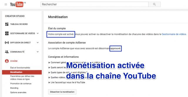 Paramètres de monétisation YouTube
