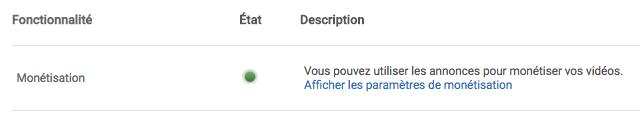 Monétisation YouTube activée