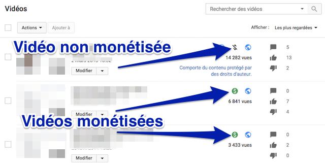 Monétisation d'une vidéo YouTube