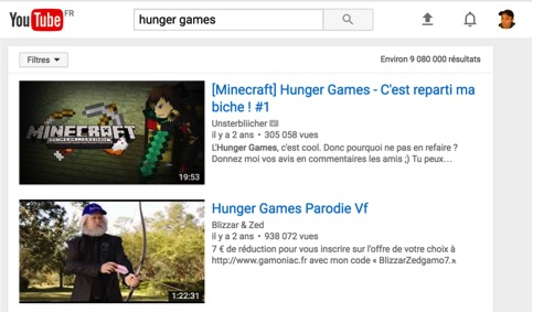 Résultats de recherche Youtube
