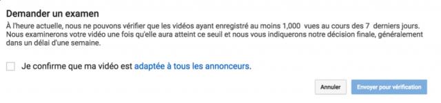 Démonétisation YouTube : demande de réexamen