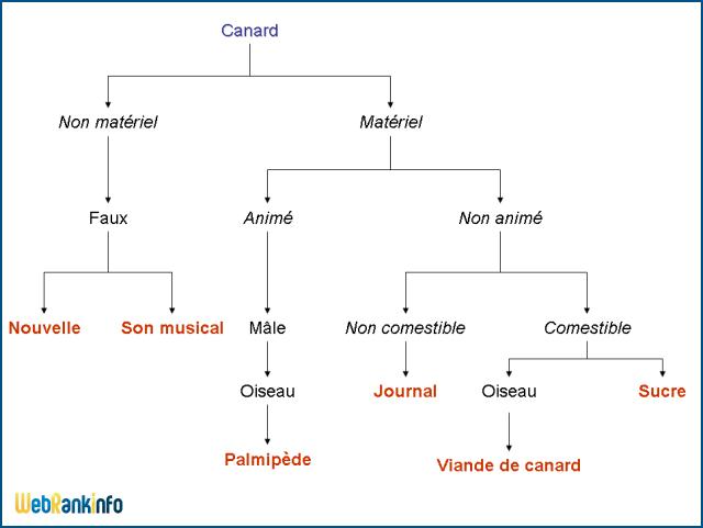 Analyse sémique de canard (schéma de Katz et Fodor)