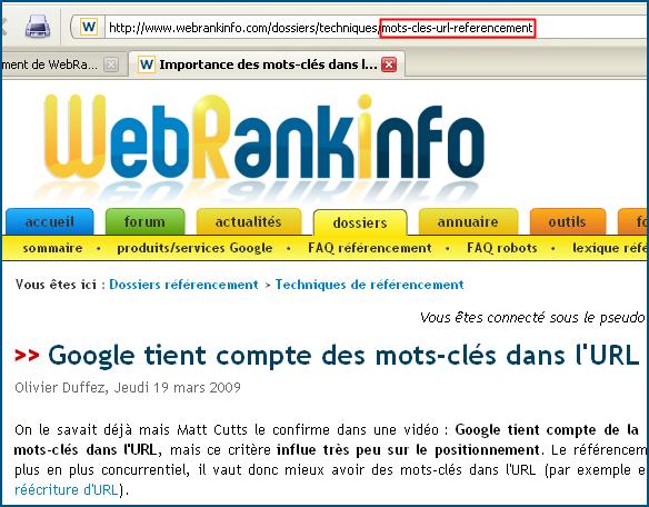 Les mots-clés dans l'URL et le référencement
