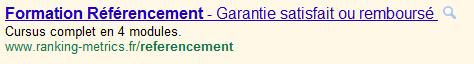 titre allongé google adwords