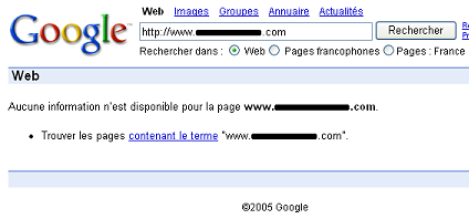 Exemple de site blacklisté par Google