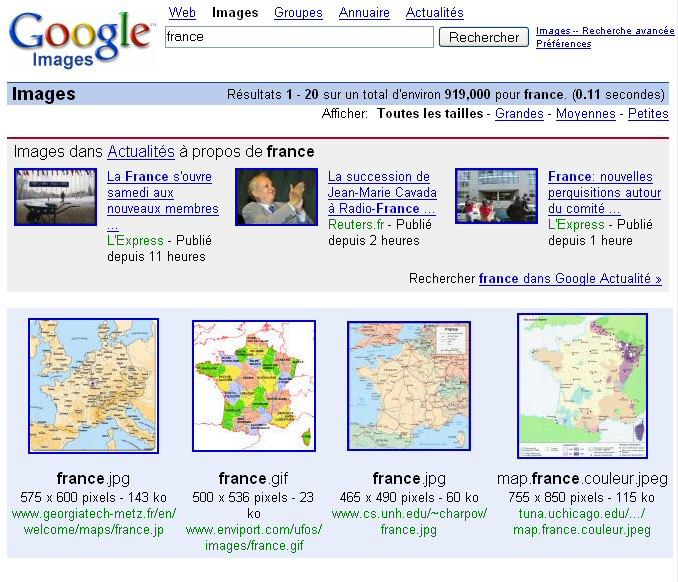 Google Images cherche dans l'actualité